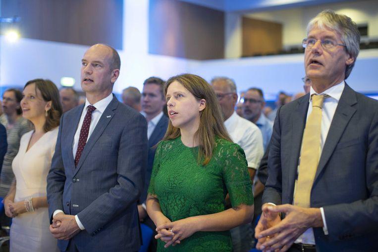 Partijleider Gert-Jan Segers en ministers Carola Schouten en Arie Slob tijdens het partijcongres van de ChristenUnie in 2018.  Beeld ANP