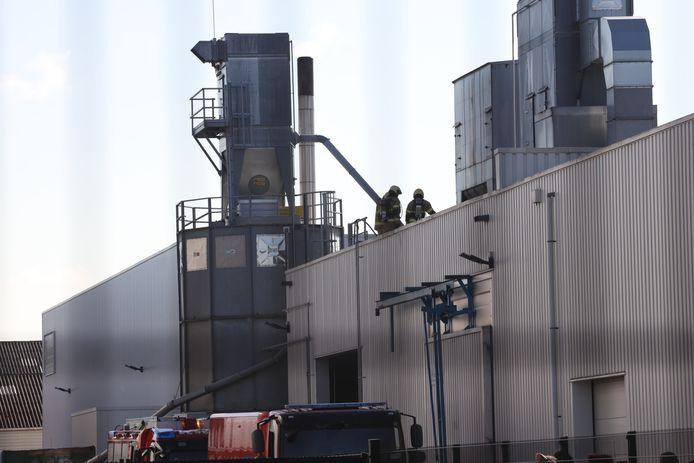 Enkele brandweerlieden waren ook op het dak van het bedrijfspand aanwezig.
