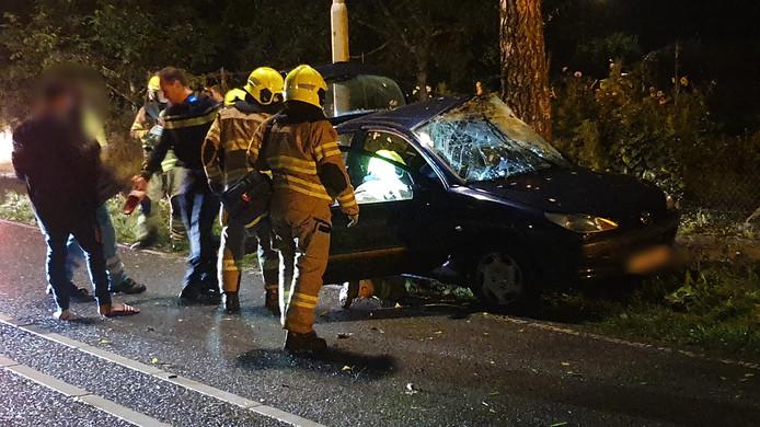 Op de Hollandseweg in Wageningen is donderdagavond een auto in de slip geraakt en tegen een boom geknald.