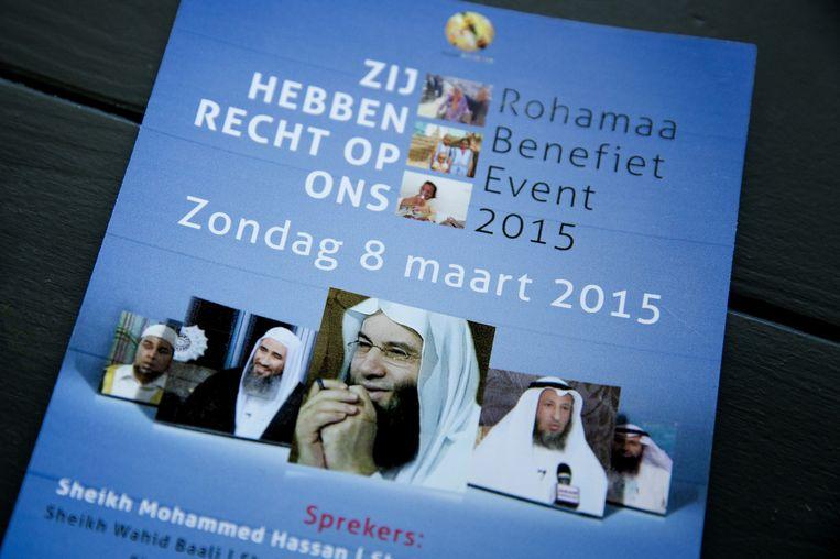 Een flyer van het Rohamaa Benefiet event in Rijswijk Beeld anp