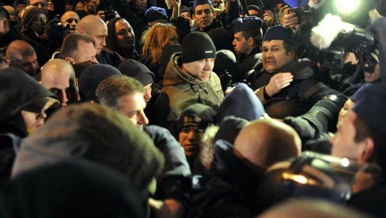 Confrontatie tussen politie en aanhangers van de extreem-rechtse partij Jobbik in Boedapest, begin deze maand. ©AP Beeld
