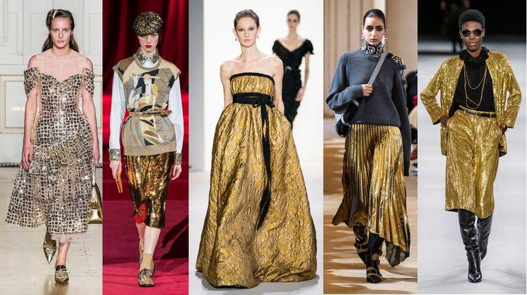 Van links naar rechts: Simone Rocha, Dolce & Gabbana, Burberry, Altuzarra en Saint Laurent,  Beeld Imaxtree