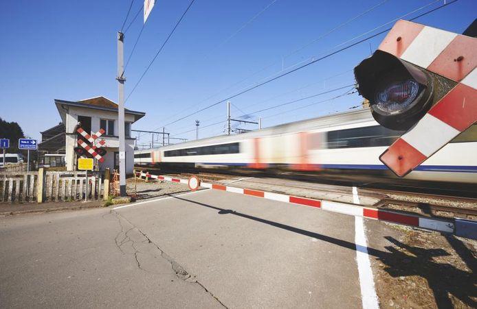 Een spoorwegovergang in België.