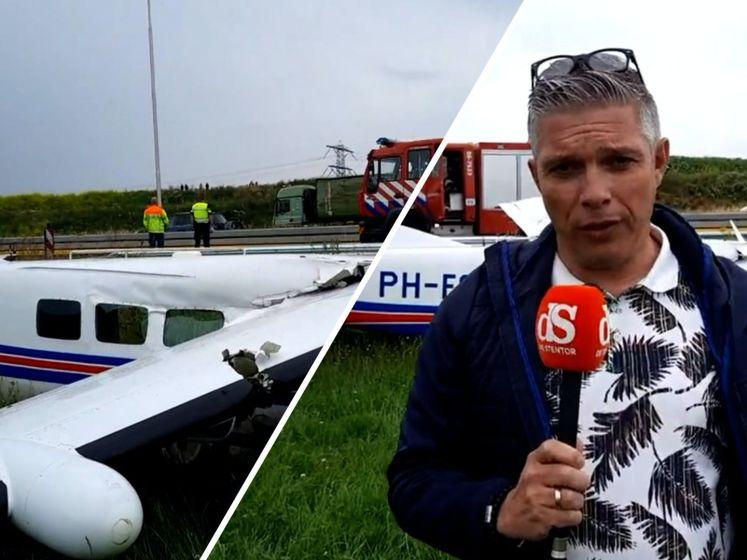 Vliegtuigje eindigt in sloot langs snelweg bij Apeldoorn