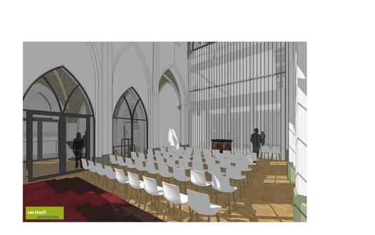 De kapel in Eerde na de herbestemming van de kerk. Er is een scheidingswand die open kan tussen de achterliggende aula van de school en de kapel.