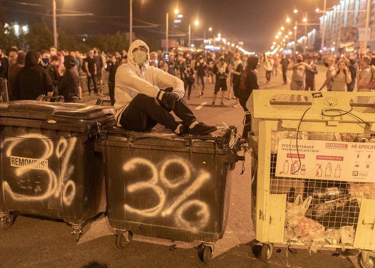 Betogers in Minsk.  Beeld via REUTERS