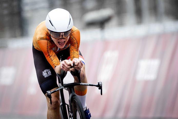 Annemiek van Vleuten tijdens de olympische tijdrit.