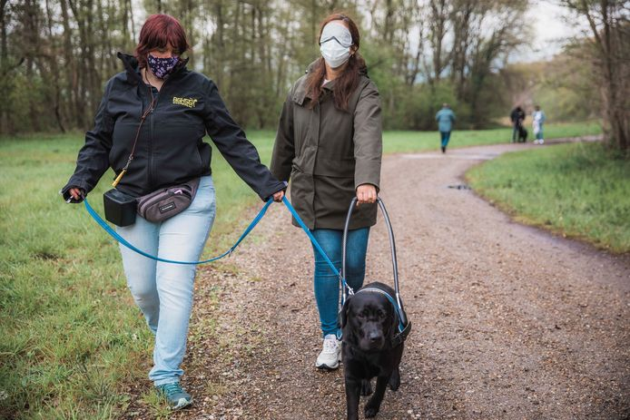 Karlien Jespers van de Blindengeleidehondenschool Genk en Zuhal Demir op wandel in Thor Park met geleidehond Sita.