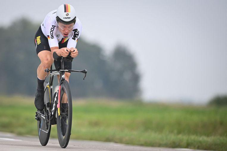 Tony Martin onderweg tijdens het WK Tijdrijden, afgelopen weekend rond Brugge. Beeld AFP
