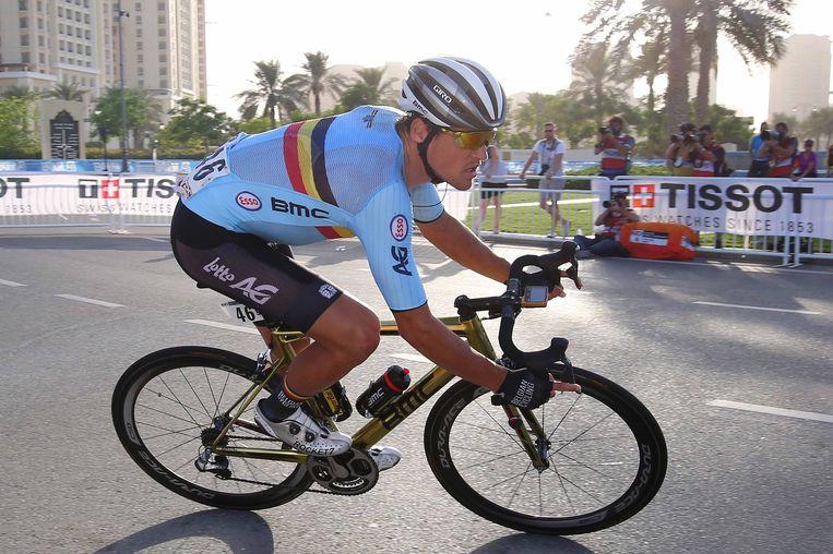 Greg Van Avermaet op het WK in Qatar.  Beeld TDW