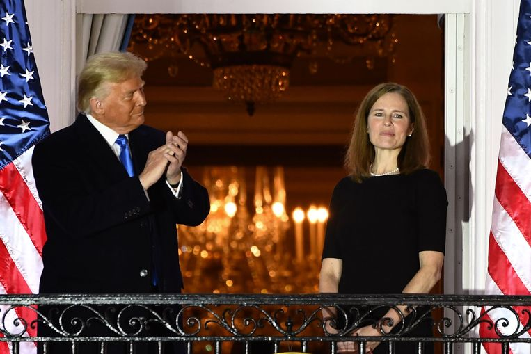 President Trump en Amy Coney Barrett. Beeld AFP