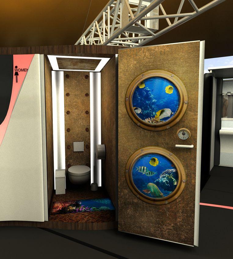 In de toiletten worden 3D-beelden gebruikt.
