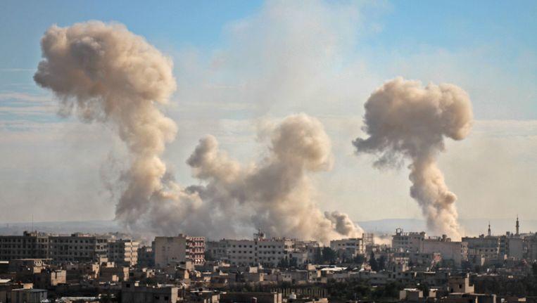 Luchtaanvallen in Oost-Ghouta. Beeld afp
