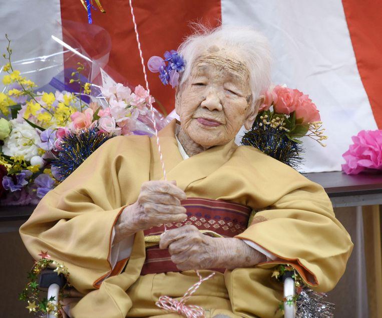 Kane Tanaka op haar 117de verjaardag, in 2020. Beeld REUTERS