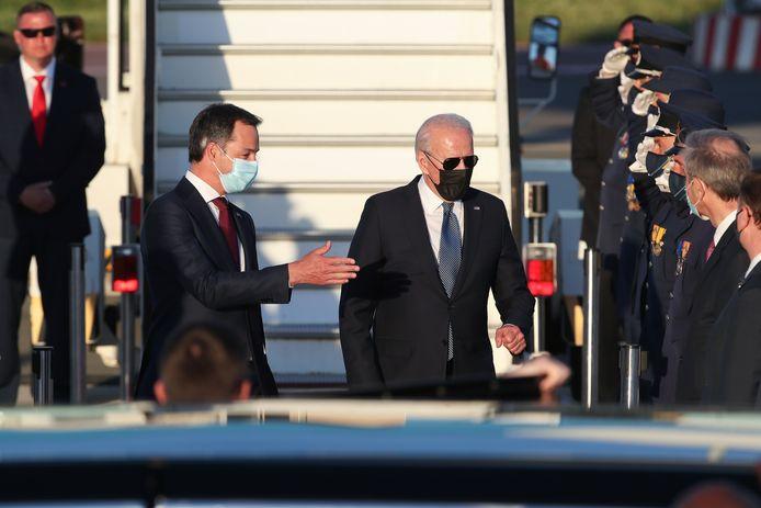Premier Alexander De Croo ontvangt Joe Biden.