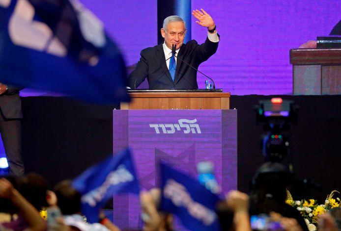 Benjamin Netanyahu tijdens zijn campagne.