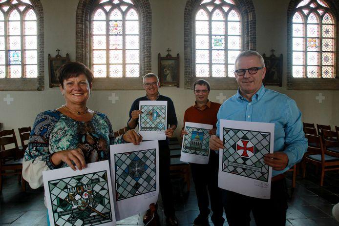 De nieuwe glasramen verwijzen naar de Tempeliers en de Hospitaalridders die de Sint-Niklaaskerk vroeger als hun kerk aanschouwden.