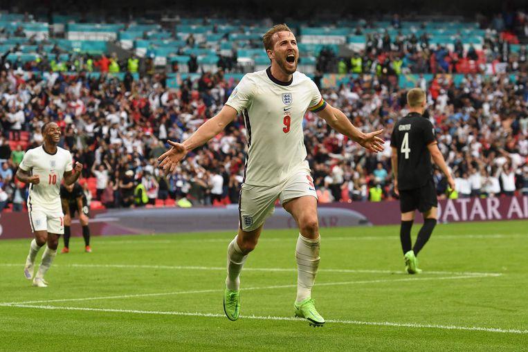 De Engelse Harry Kane scoorde zijn eerste doelpunt in de wedstrijd tegen Duitsland. Is hij nu eindelijk 'los'? Beeld AFP