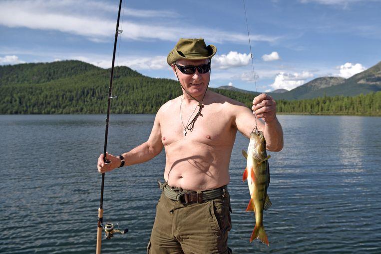 2017: de president tijdens een visvangst in Siberië.