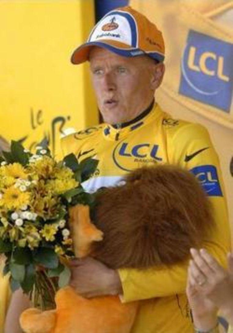 Michael Rasmussen, de gele trui van deze Tour. Beeld UNKNOWN