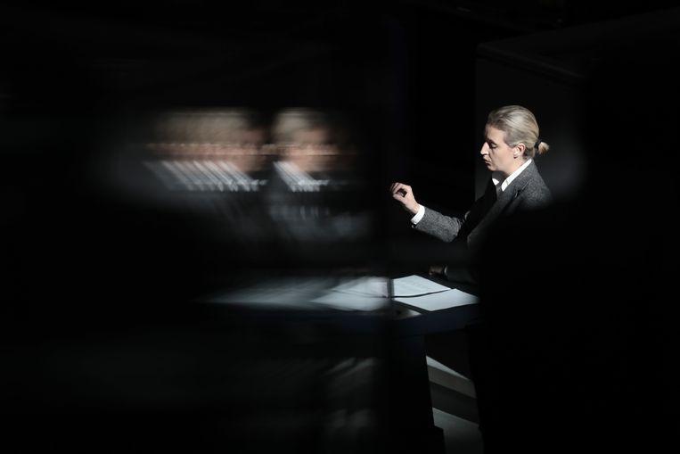 Fractieleider voor AfD Alice Weidel, tegen wie een gerechtelijk onderzoek loopt. Beeld Kay Nietfeld/dpa