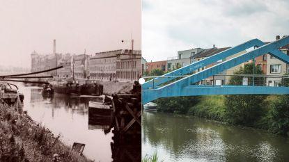 Vroeger en nu: de opgeblazen treinbrug aan de Brugse Vaart
