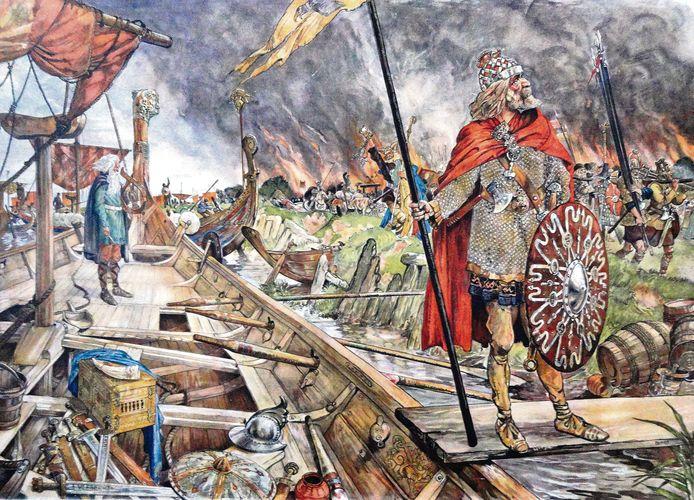 Een Viking op een typisch Vikingschip.