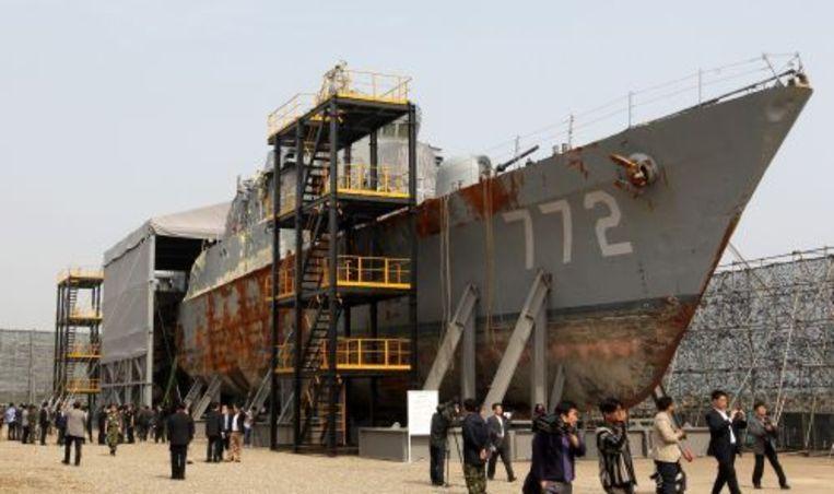 Het zwaar beschadigde marineschip van Zuid-Korea. ANP Beeld