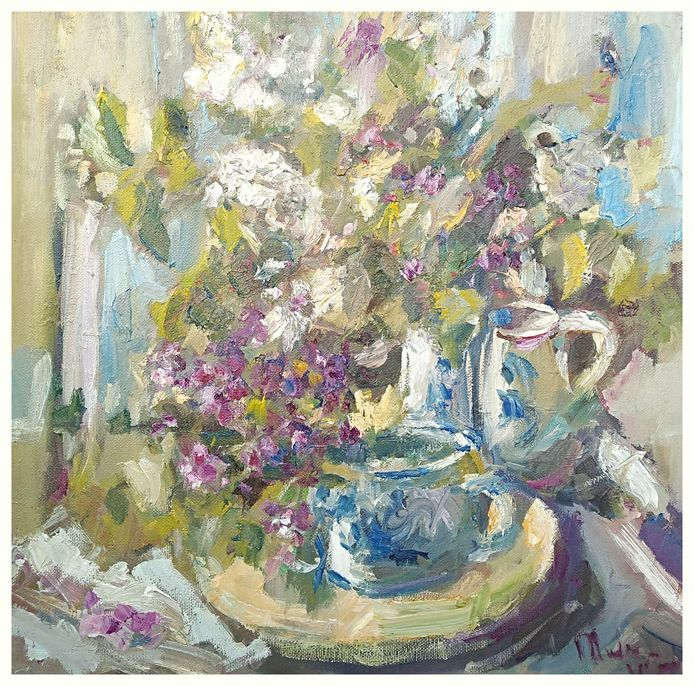 Om de aanschaf van kunstbonnen aantrekkelijk te maken, maakte Mieke van Zundert dit schilderij dat ze verloot onder de kopers.