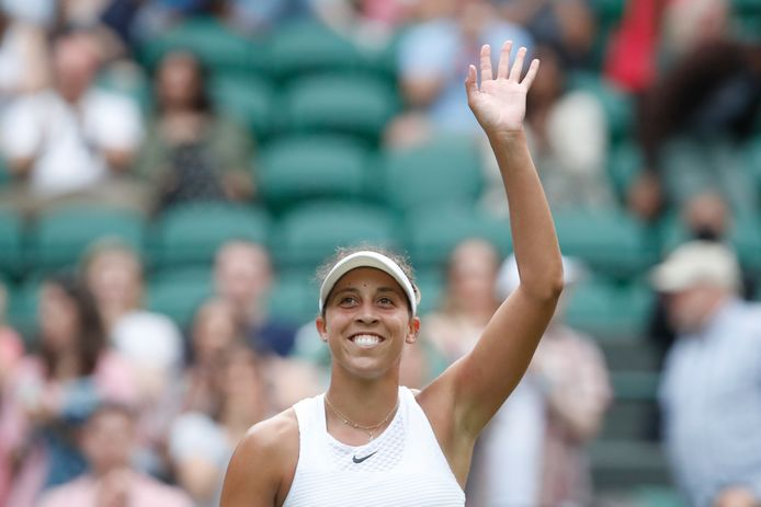 Tennis - Wimbledon - All England Lawn Tennis and Croquet Club, London, Britain - July 2, 2021  Madison Keys of the U.S. celebrates winning her third round match against Belgium's Elise Mertens REUTERS/Paul Childs