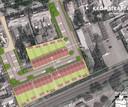 De stedenbouwkundige opzet voor 29 rijwoningen tussen de Kromstraat (boven) en het spoor (onder). De nieuwe buurt wordt ontsloten via een weg op de plek waar nu nog een verlopen horecazaak (voorheen Tivoli) staat. De ontsluiting links is alleen voor fietsers.