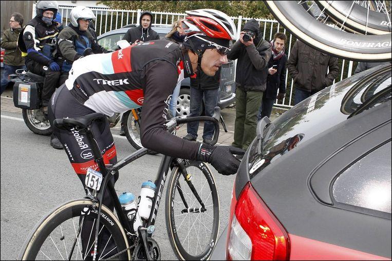 Ook Fabian Cancellara kneep de remmen dicht. Beeld PHOTO_NEWS
