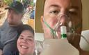 Jessica DuPreez et son fiancé Mike Freedy. À droite : Mike à l'hôpital.