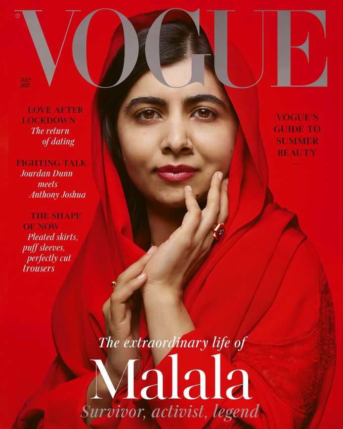 Malala Yousafzai op de cover van het Amerikaanse modeblad Vogue.