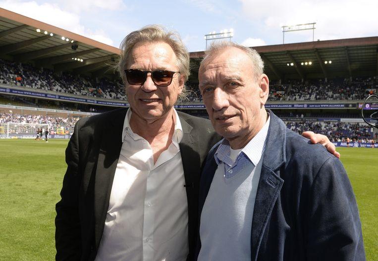 Jan Mulder en Robbie Rensenbrink in het Constant Vanden Stock-stadion.