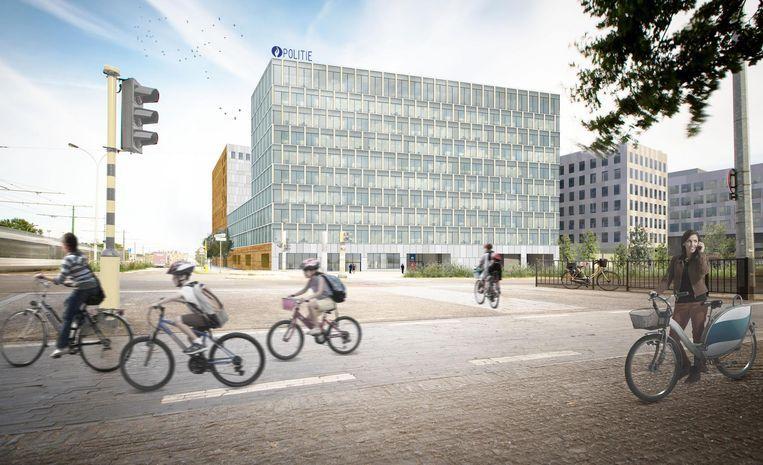 Een impressie van het hoofdkwartier van de Antwerpse politie op de site Post X in Berchem. Beeld RV
