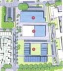 Een schets van het plan. Eén is de Lidl XL, twee de school en drie de nieuwe woningen. Linksboven de uitgebreide parkeerplaats.