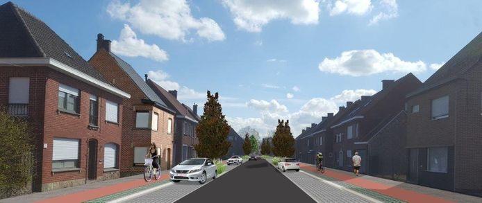 De Wijnendalestraat krijgt deels gescheiden fietspaden afgescheiden van de rijweg.