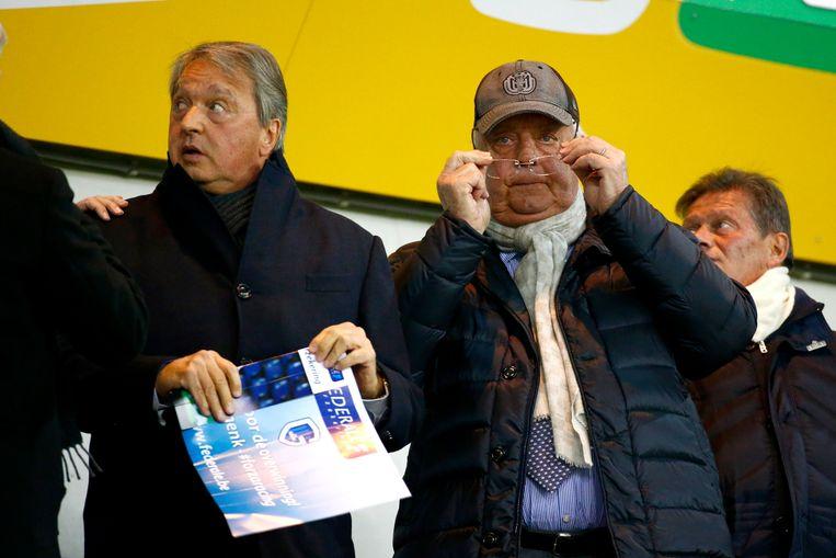 Voormalig algemeen manager van Anderlecht Herman Van Holsbeeck en voormalig clubeigenaar Roger Vanden Stock op archiefbeeld. Beeld Photo News