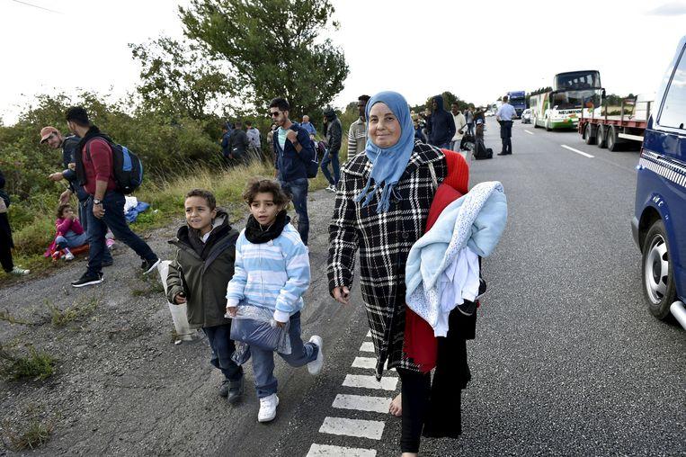 Een groep Syriërs op een snelweg in Denemarken in 2015. De vluchtelingen zijn van plan asiel aan te vragen. Het aantal asielverzoeken in Denemarken daalde de afgelopen jaren sterk. Beeld REUTERS