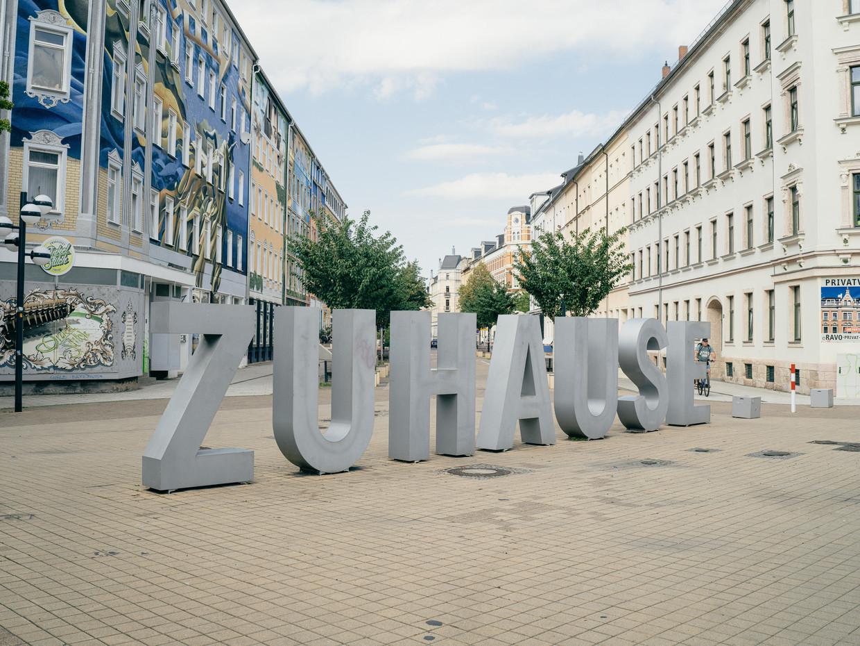 Straatbeeld in Chemnitz.