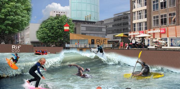 Impressie van de surfattractie Rif010 in de Steigersgracht in Rotterdam