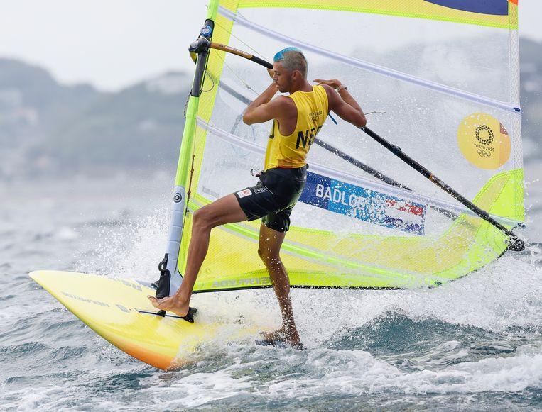 Kiran Badloe op RS:X-plank. Beeld EPA