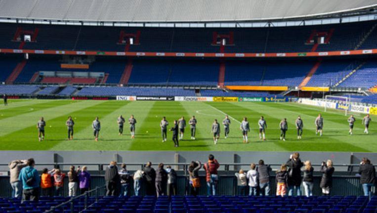 Het Nederlands elftal traint zondag in De Kuip in Rotterdam voor de thuiswedstrijd in de EK-kwalificatie tegen Hongarije komende dinsdag. © anp Beeld
