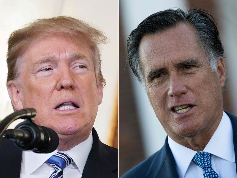 (COMBO) This combination of file pictures created on February 20, 2018 shows Oud-president Donald Trump (links) en zijn partijgenoot en criticus Mitt Romney op archiefbeeld. Beeld AFP