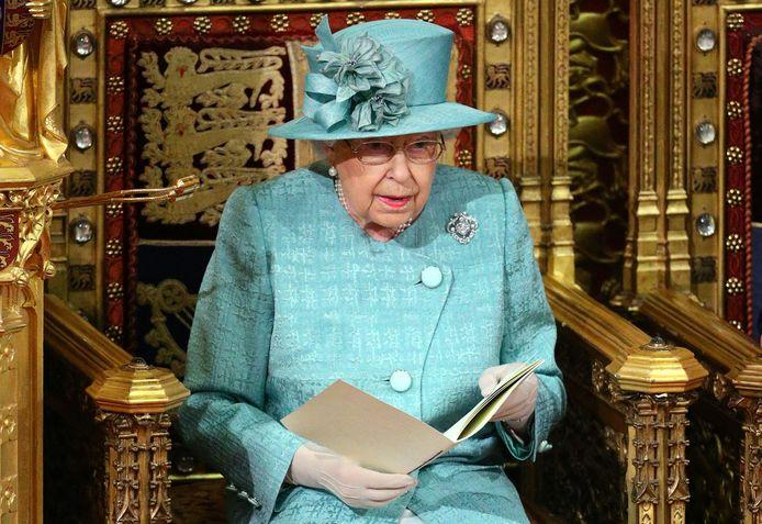 Koningin Elizabeth tijdens haar speech bij de opening van het Britse parlementaire jaar in 2019.