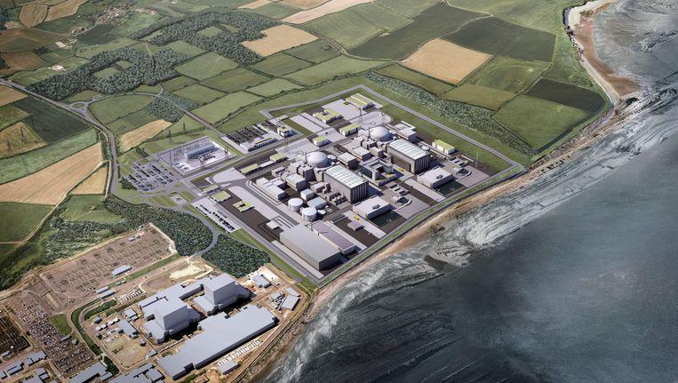 Een ontwerp van de kerncentrale in Hinkley Point. Beeld AFP
