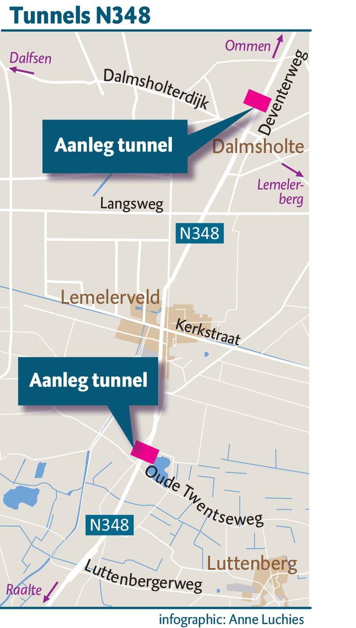Locatie van de tunnels in de N348.
