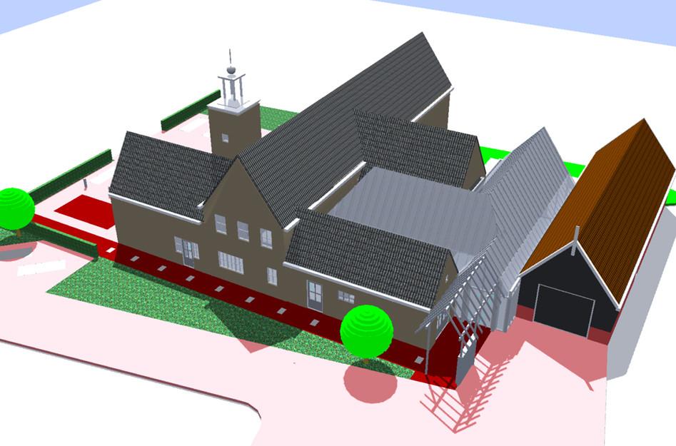 Zo komt De Meestoof eruit te zien als de verbouwing door kan gaan. Het lichtgrijze gedeelte stelt de nieuwbouw voor, met op de voorgrond het nieuwe entree.