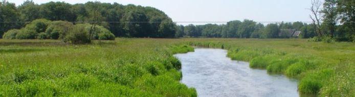Impressie van meanderende Reusel op Landgoed Reuseldal in Moergestel